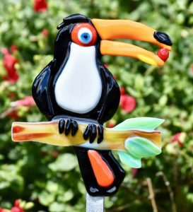 Fused Glass Black Toucan Plant Garden Stake