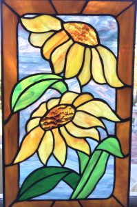Stained Glass Sunflowers Window Panel
